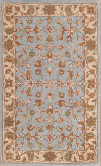 Hand-Tufted Light Blue Oushak Agra Oriental Area Rug