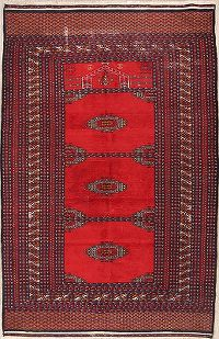 Vintage Geometric 4x6 Bokhara Oriental Hand-Knotted Area Rug