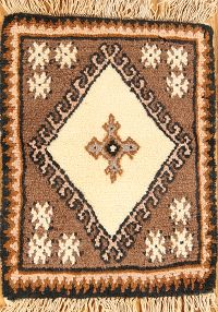 Tribal Geometric Beige Moroccan Oriental Hand-Knotted Area Rug Wool 1x2