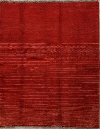 Contemporary Gabbeh Shiraz Persian Modern Red Rug 5x6