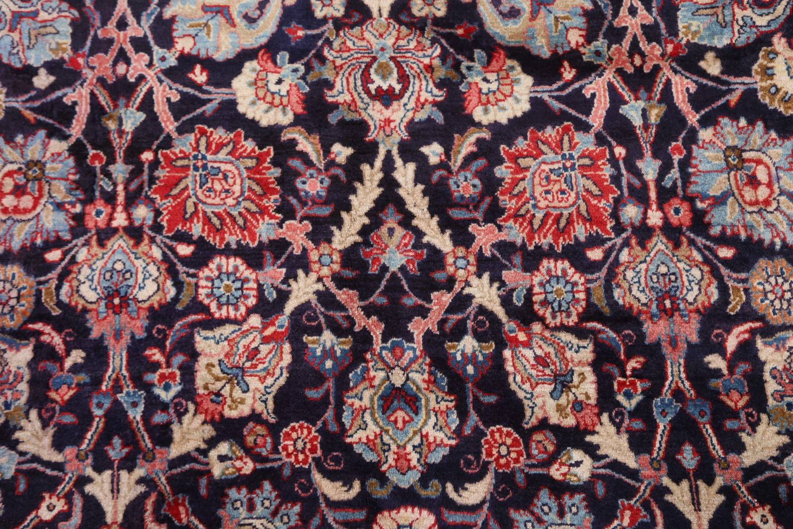 Navy Blue Floral Sarouk Persian Hand-Knotted Area Rug 7x11