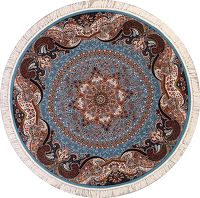 Soft Light Blue Round 7x7 Tabriz Persian Area Rug