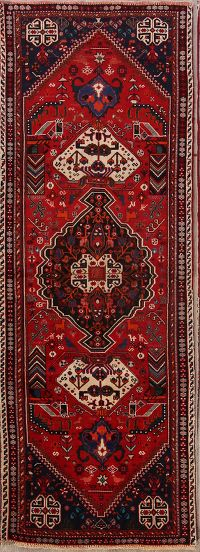 Geometric Tribal Kashkoli Shiraz Persian Runner Rug 3x9