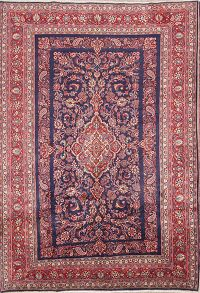 Navy Blue Floral 7x10 Hamedan Persian Area Rug