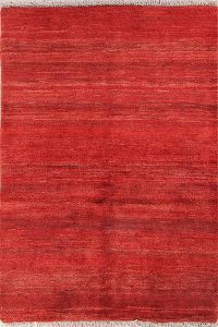 Soft Solid 4x5 Gabbeh Zolanvari Shiraz Persian Area Rug