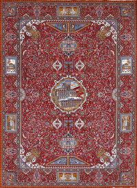 Pictorial 9x13 Kashmar Persian Area Rug