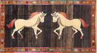 Animal Pictorial Horse 4x7 Gabbeh Kashkoli Shiraz Persian Area Rug