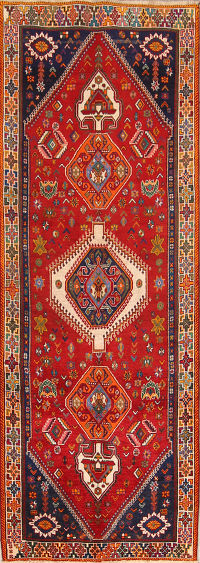 Geometric 4x10 Kashkoli Shiraz Persian Rug Runner