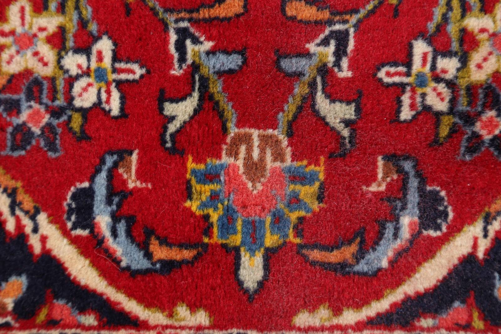 Floral Red Kashan Persian Hand-Knotted Area Rug Wool 8x13