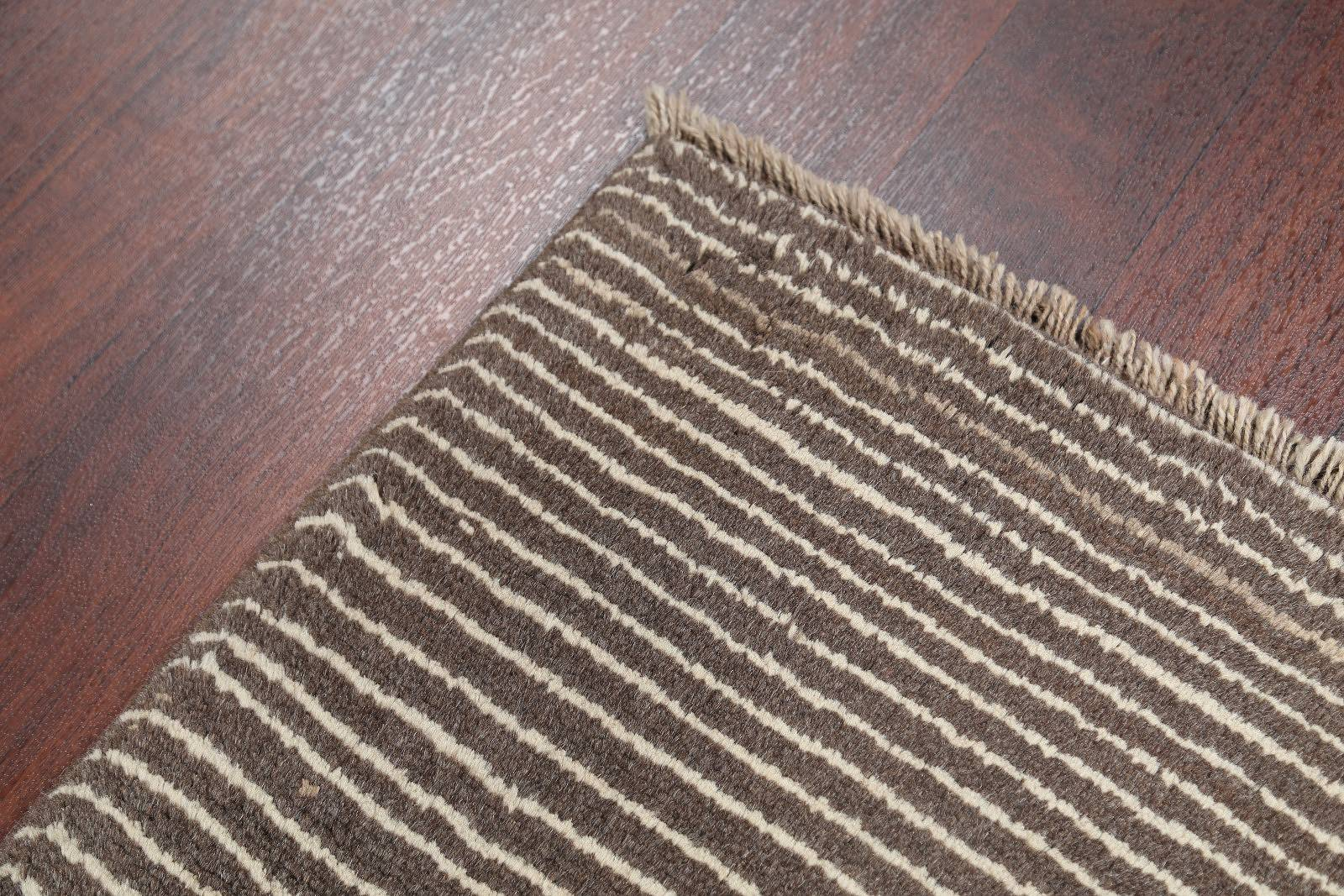 Striped Earth-Tone Color 3x4 Gabbeh Shiraz Persian Area Rug