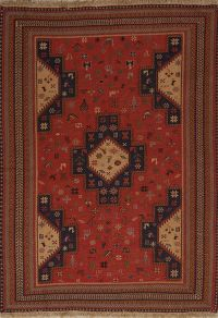 Geometric Animal Pictorial 4x6 Sumak Sirjan Persian Area Rug