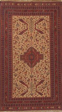 Animal Pictorial 4x7 Sumak Sirjan Kilim Persian Area Rug