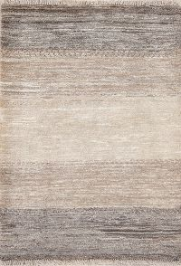 Striped Earth-Tone Modern 3x4 Gabbeh Zolanvari Persian Rug Runner