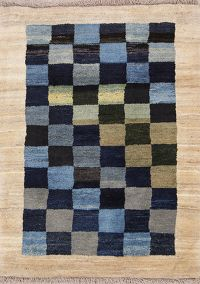 Checked Design 3x4 Gabbeh Zolanvari Shiraz Persian Area Rug