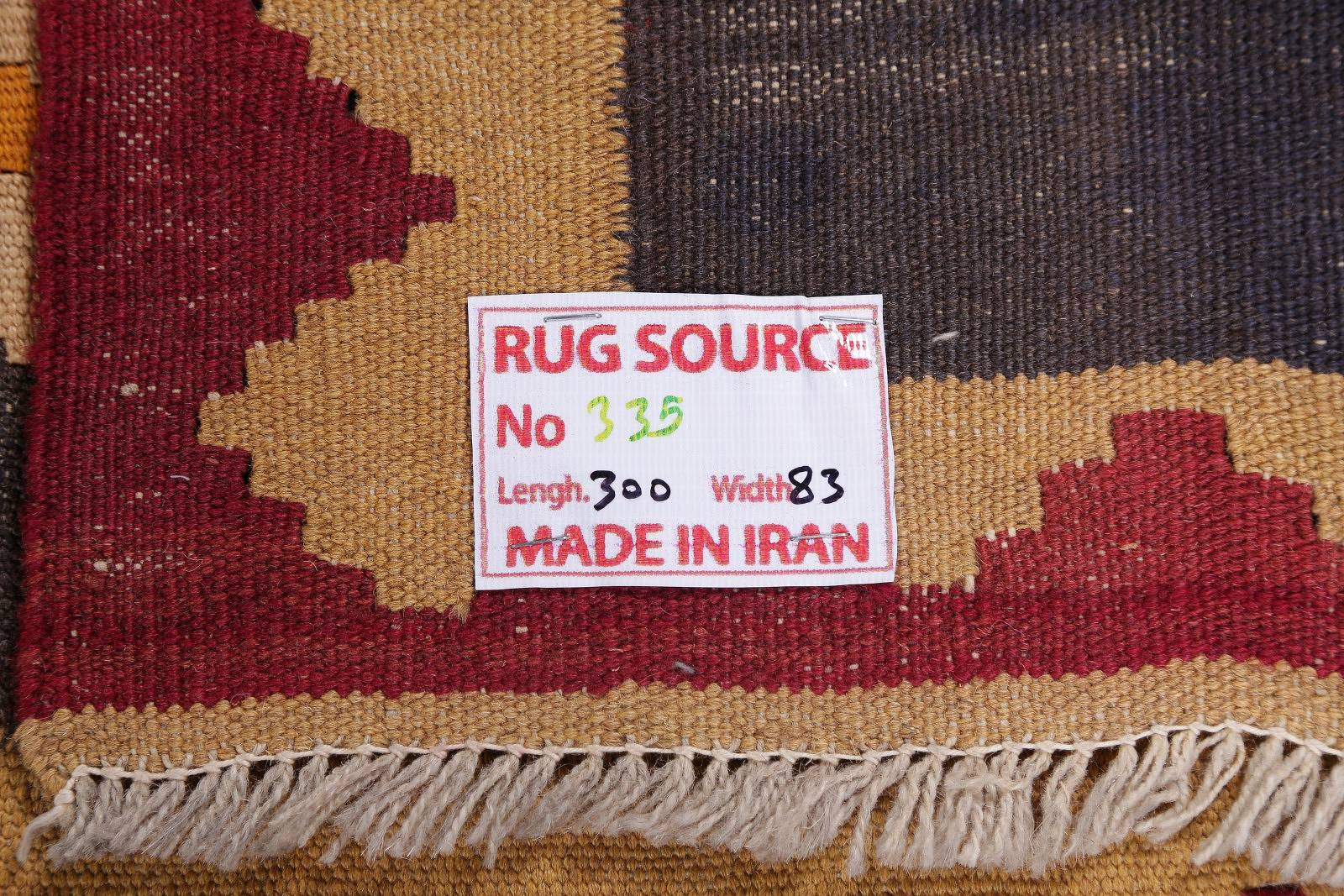 Flat-Woven Charcoal 3x10 Kilim Shiraz Persian Rug Runner