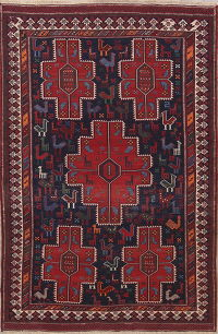 Animal Pictorial Tribal  5x7 Kilim Sirjan Sumak Persian Area Rug