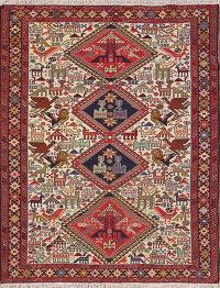 Animals Tribal 5x6 Sumak Kilim Persian Area Rug