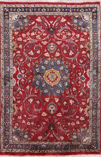 Traditional Floral Mashad Persian Area Rug 4x7
