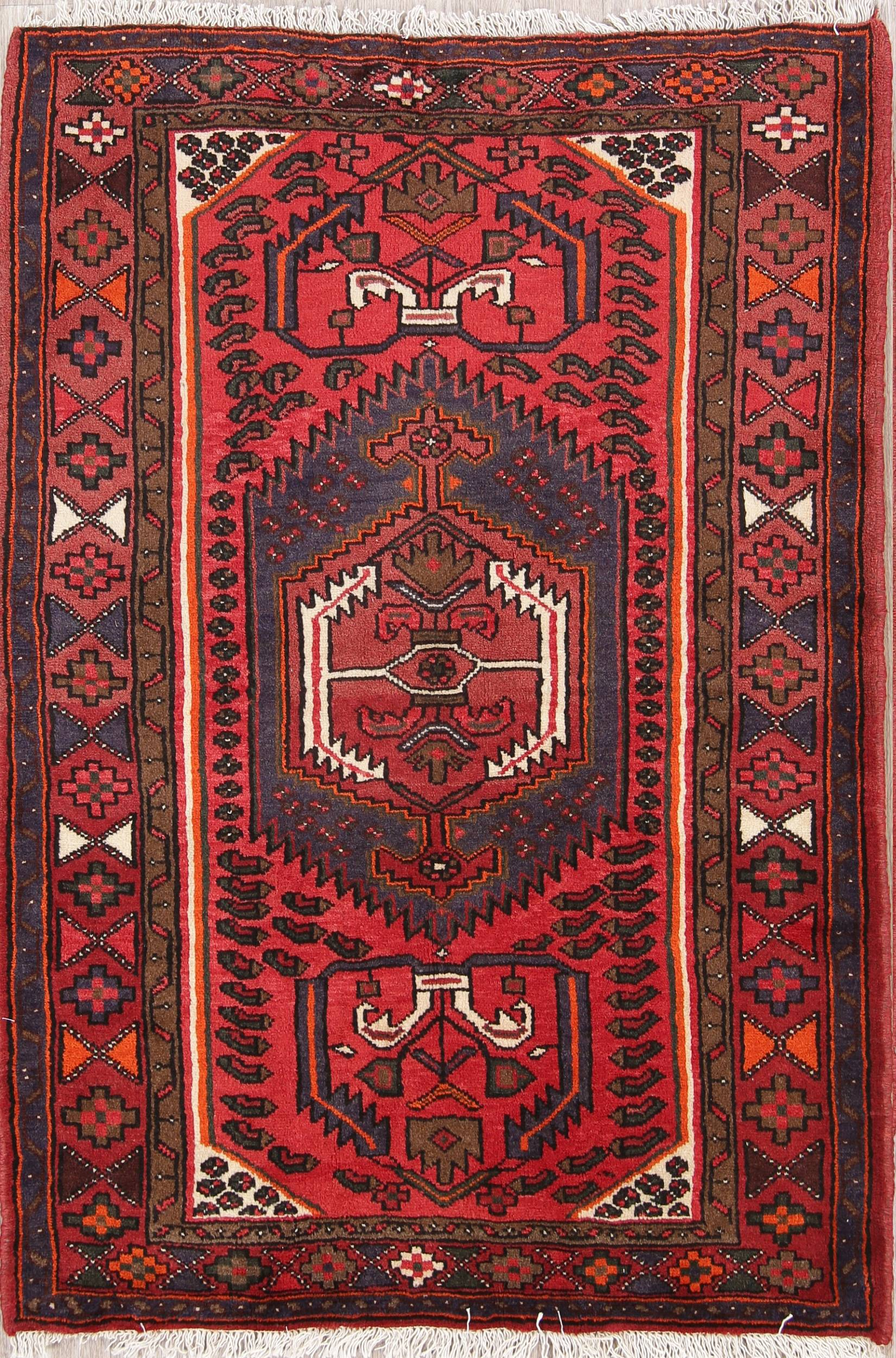 Geometric Tribal Foyer Size 3x5 Hamedan Persian Area Rug
