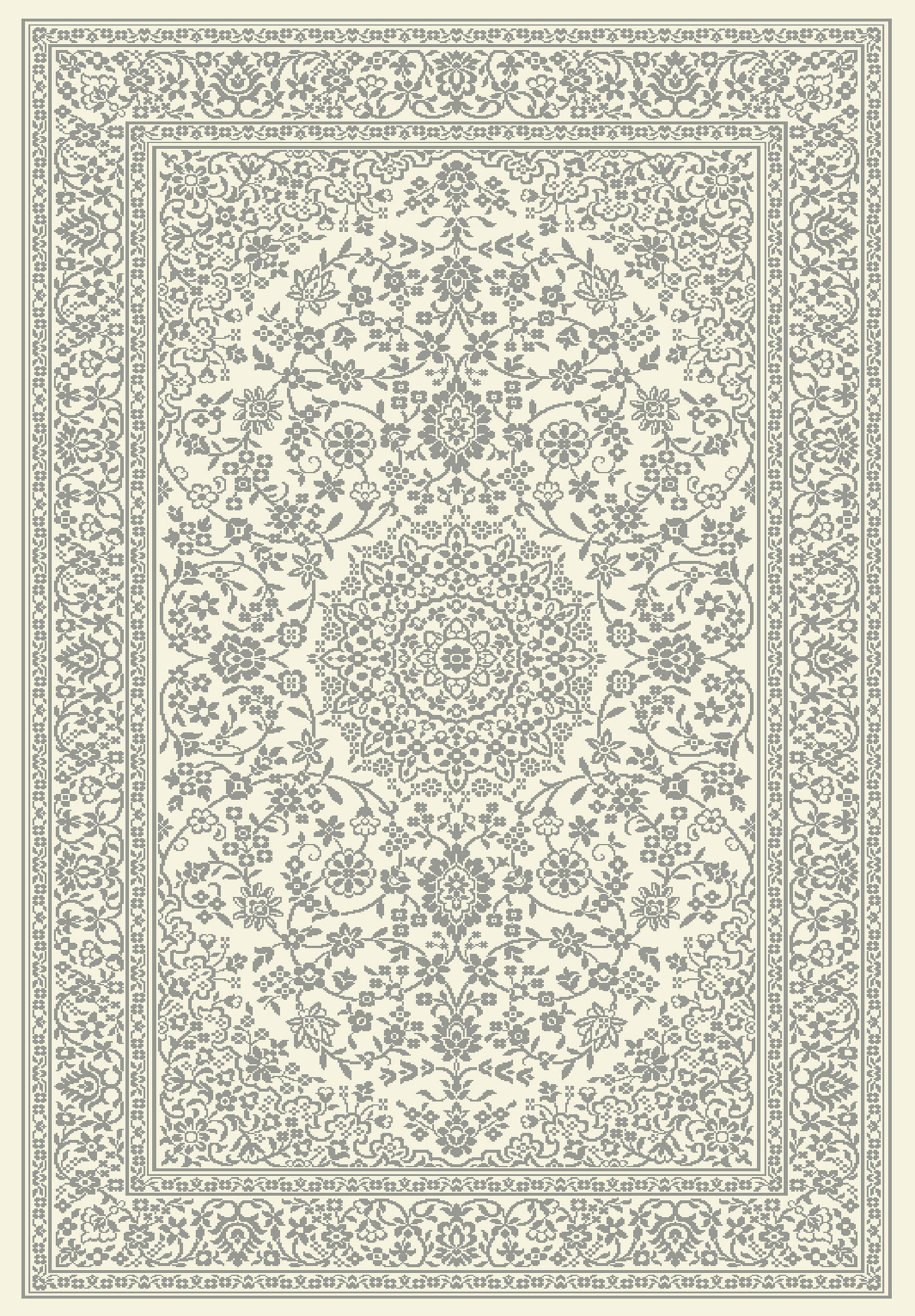 Floral Grey Machine Made Belgian Oriental Area Rug 8x10