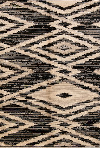 Geometric Machine Made Belgium Oriental Area Rug Beige