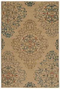 Geometric Floral 2x3 Machine Made Belgium Oriental Area Rug Beige