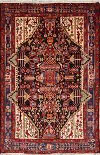 Geometric Tribal Nahavand Hamedan Persian Area Rug 4x7
