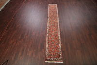 Floral Rust Sarouk Persian Hand-Knotted Runner Rug Wool 2x14