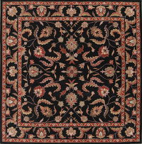 Hand-Tufted Square Black Oushak Oriental Area Rug Wool 12x12
