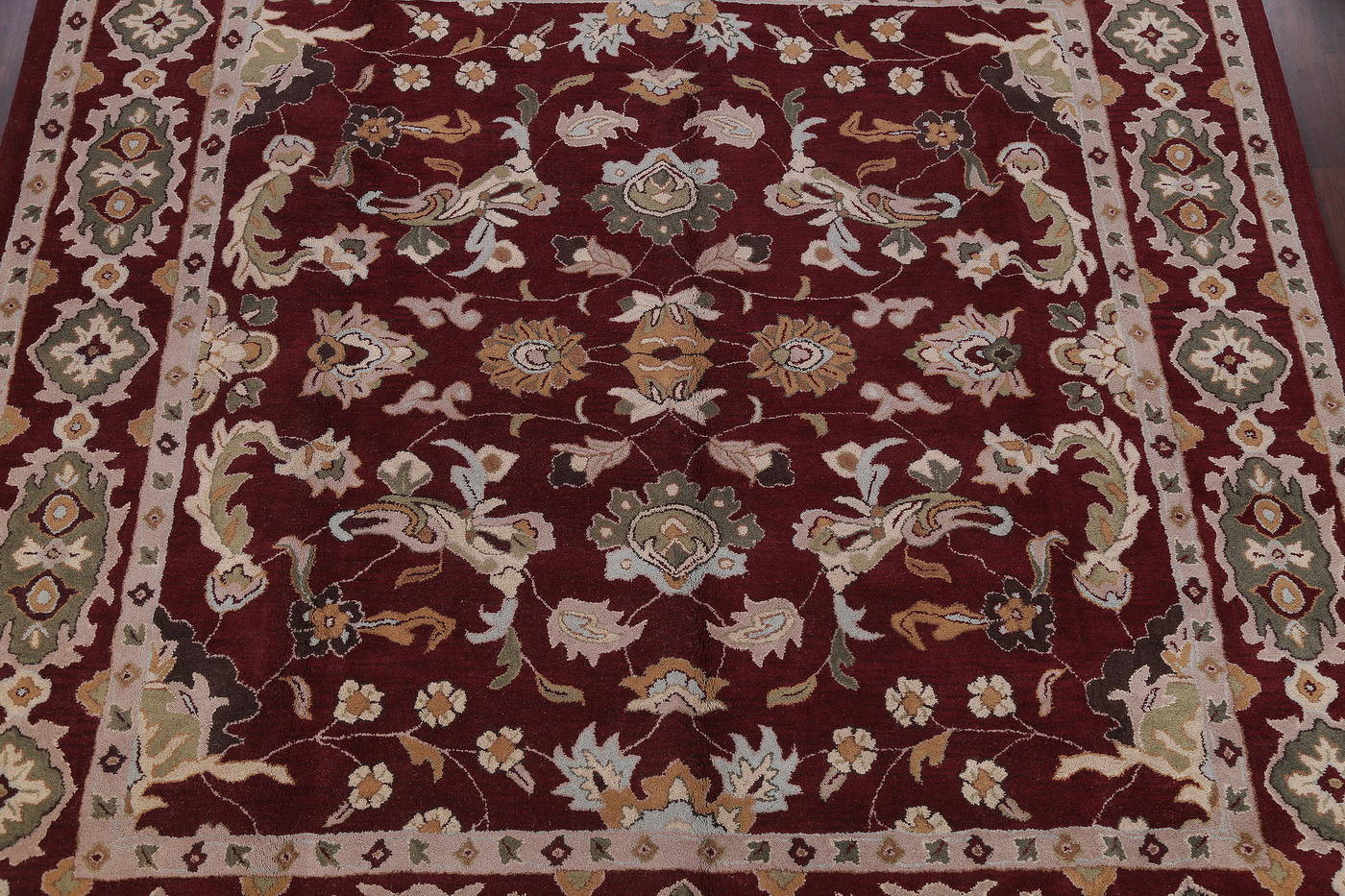 Hand-Tufted Floral Burgundy Square Oushak Oriental Area Rug 12x12
