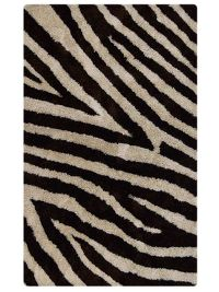 Zebra Print Shaggy Indian Oriental Hand-Tufted Area Rug