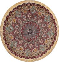 Masterpiece Wool/Silk Tabriz Persian Round Rug 7x7