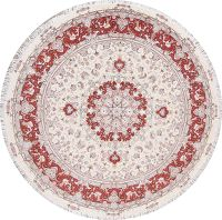 Ivory Floral Tabriz Persian Round Rug 9'x9'