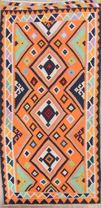 Geometric Kilim Shiraz Persian Runner Rug 4x9