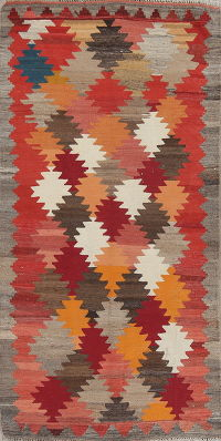 Contemporary Geometric Kilim Persian Area Rug 4x7
