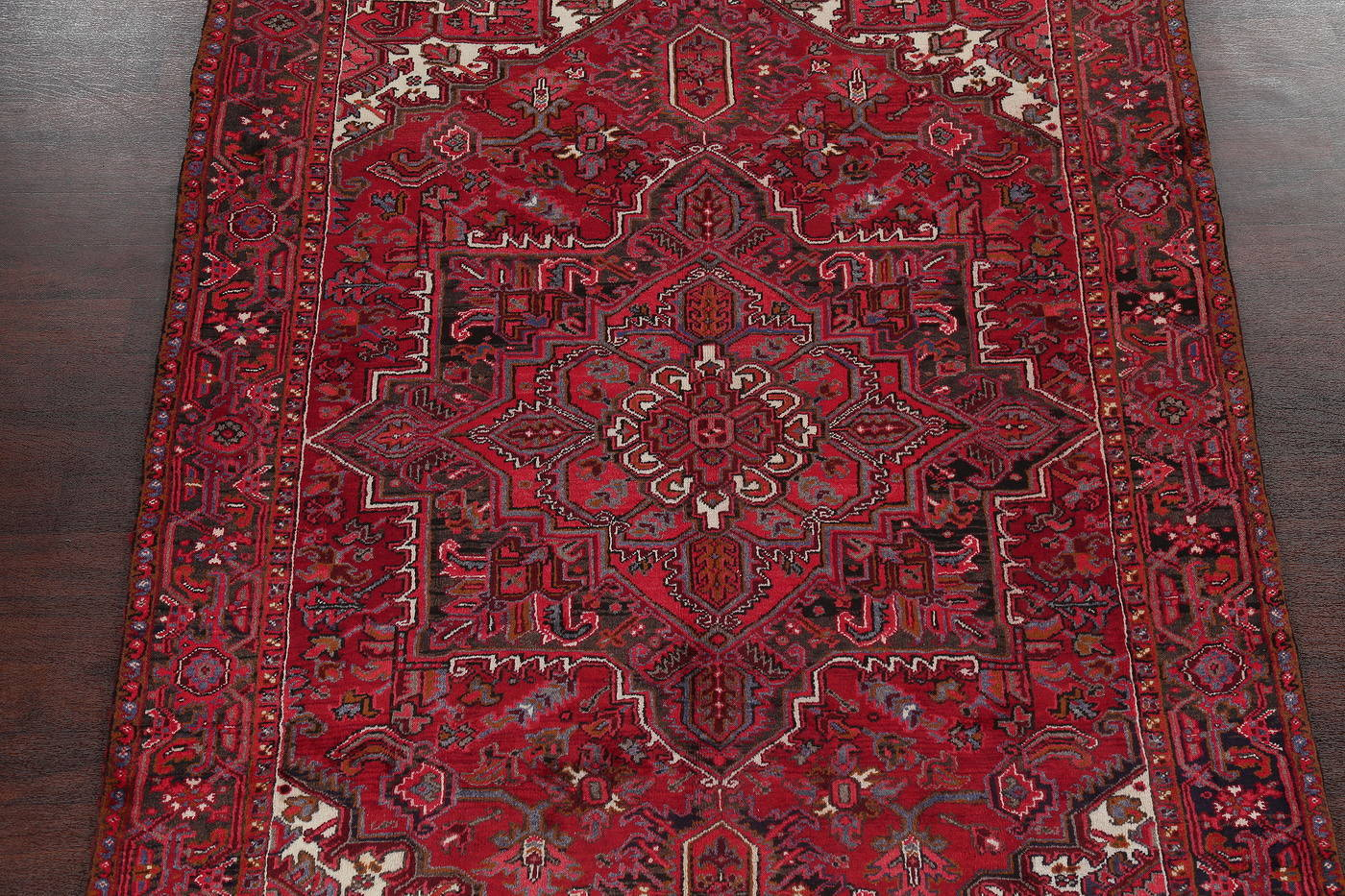 Red Geometric Heriz Persian Area Rug 7x10