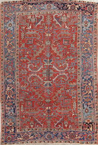 Antique Geometric Heriz Persian Area Rug 7x10