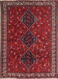 Antique Geometric Shiraz Persian Area Rug 5x7