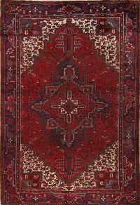Red Geometric Heriz Persian Area Rug 7x11