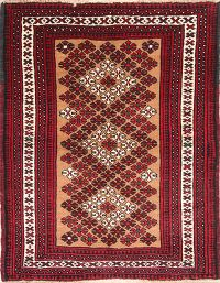 Red Geometric Balouch Persian Area Rug 4x5