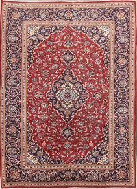 Red Floral Traditional Kashan Persian Area Rug 8x11