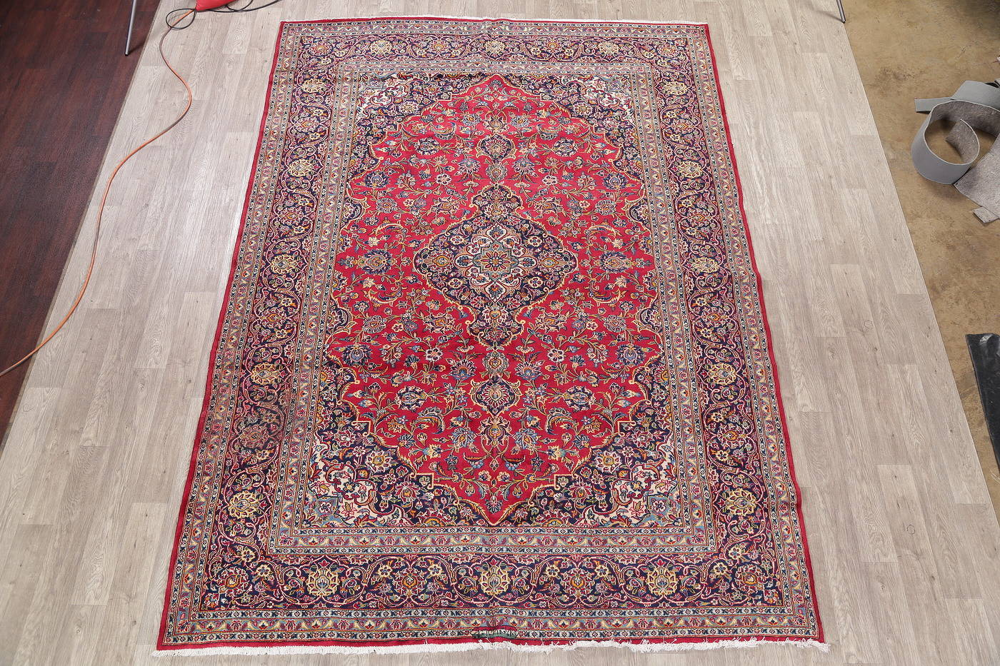 Red Traditional Floral Kashan Persian Area Rug 8x11