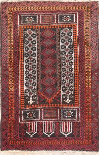 Black Geometric Balouch Oriental Prayer Rug 3x5