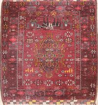 Red Geometric Balouch Oriental Square Rug 3x3