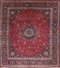 Traditional Floral Mashad Persian Oriental Square Rug 12x13