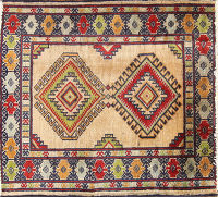 Geometric Turkoman Persian Wool Square Rug 2x2