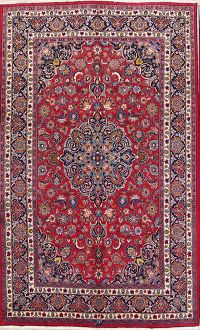 Floral Red Mashad Persian Hand-Knotted Area Rug Wool 7x11