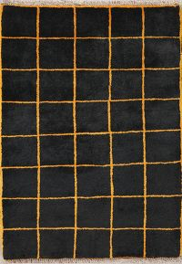 Checked Black Gabbeh Shiraz Persian Modern Rug 3x4