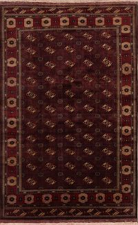 All-Over Purple Geometric Balouch Persian Area Rug 8x12