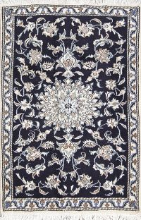 Black Floral Nain Persian Wool Rug 3x4